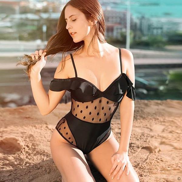 Luxury Designer Mesh+Dot Swimwear for Women Black Triangle Bikinis One Piece Swimsuit Woman Bodysuits Sexy Black Swim Wear Bathing Suits