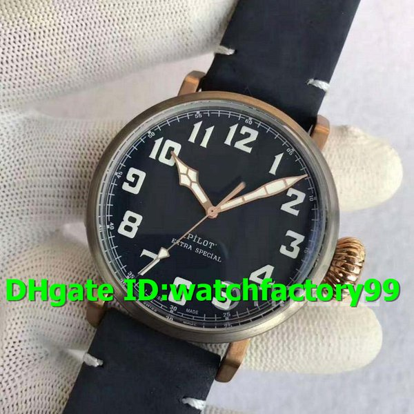 XF New Luxury Watch 45mm Miyota 9015 Automatic Sapphire Crystal Bronze Case Titanium Bezel Superlumed black dial Asso Strap Mens Watch