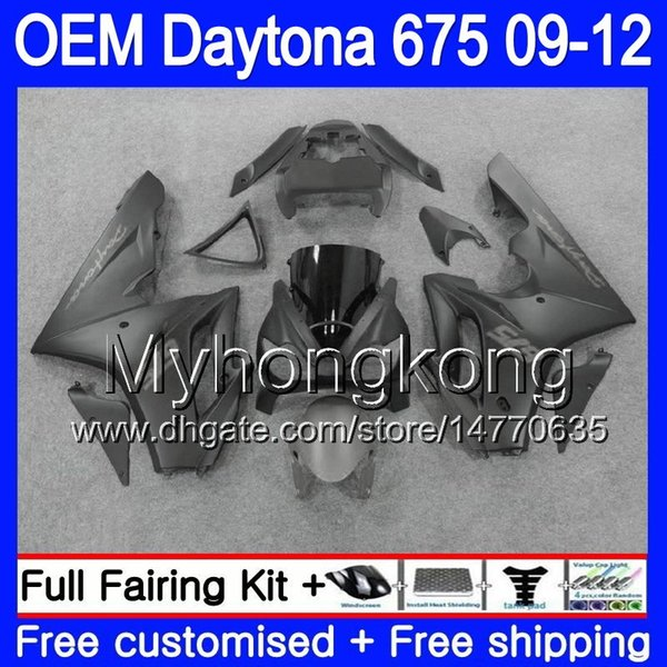 Injection ALL Flat blk For Triumph Daytona 675 09 10 11 12 Bodywork 323HM.25 Daytona-675 Daytona675 Daytona 675 2009 2010 2011 2012 Fairing