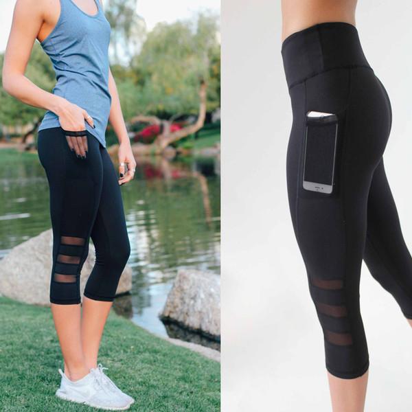 Yoga Pants Running Sports Leggings Side Pocket Cell Phone Capri Pants Women Workout Gym Tight Trousers