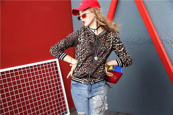 Casual Leopard Mujeres Chaqueta Abrigo Moda Cremallera Tops 2019 Caliente Nueva dama Abrigo Chaquetas de niña