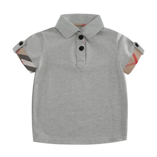 top popular New Gray Baby Boys T-shirts Comfortable Cotton Polo Shirt Kids Clothing Hot Sell Fashion Plaid Summer Short Sleeve Baby T-shirt 2020