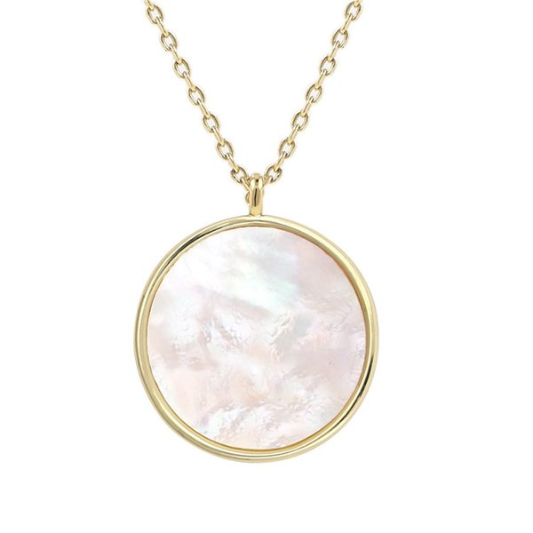 Jewelry Simple ROund Pendant Natural White Abalone Shell Necklace 14k Gold Plated Necklaces Elegant Gold Simple Shell Sweater Chain in Stock