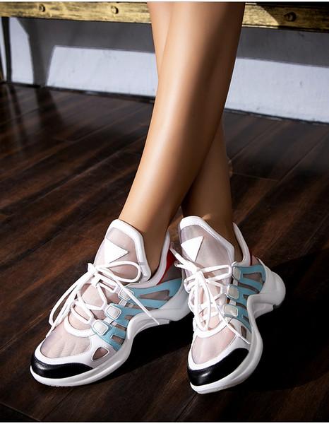 Été nouveau visage respirant vieux papa chaussures fond épais aller avec la version coréenne baskets chaussures de sport femmes plateforme occasionnels