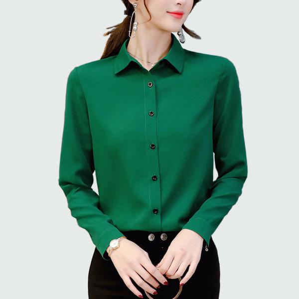 Женщины с длинными рукавами сплошной шифон блузка офис леди весна лето плюс размер блузки Ol стиль рубашки Blusas сорочка Femme Q190523