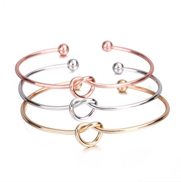 Metal Çinko Alaşım Gül Altın Renk Kravat Düğüm Bilezik Bilezik Basit Büküm Manşet Açık Bilezik Takı Kadınlar Için Ayarlanabilir Bileklik Takı