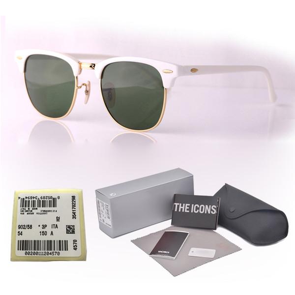 Top quality (Glass lens) Brand Designer sunglasses men women Plank frame Metal hinge Sport Vintage sun glasses With free case and box