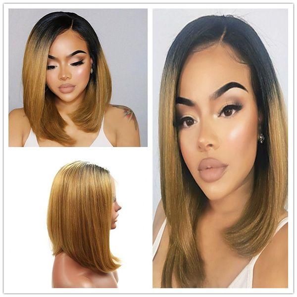 Kostenloser Versand Dark Roots Blonde Kurze Bob Gerade Perücken 2 Töne 1b / 27 # Synthetische Lace Front Perücken Seitenteil Ombre Perücken für Frauen