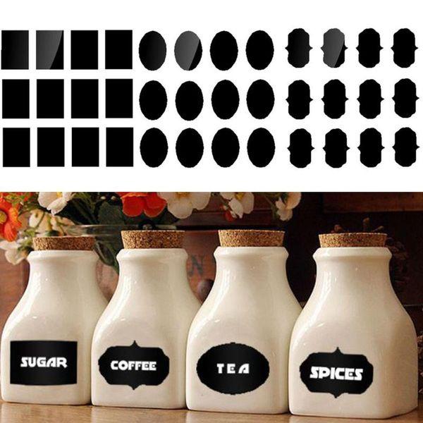 60pcs/pack PVC Chalkboard Label Wedding Home Kitchen Jars Blackboard Stickers Chalkboard labels Tags Bottle Stickers