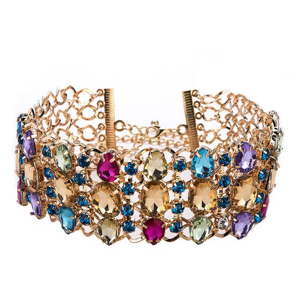 RE Rhinestone gargantilha colar bib colar de declaração para as mulheres de luxo big chunky colar colar maxi 2018 moda jóias G31