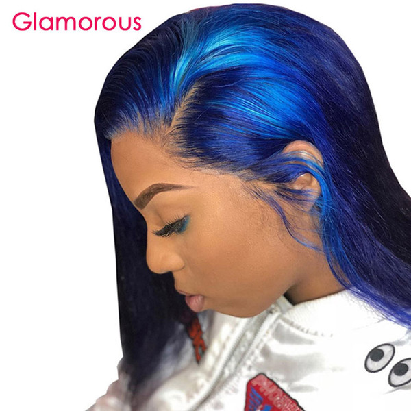 Remy Human Hair Blue Lace Front Wig 150% Density Short Bob Wig With Baby Hair