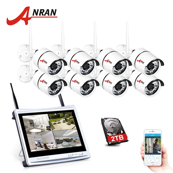 ANRAN 8Ch 1080P Wireless Security CCTV IP Camera System 2MP WIFI NVR Kit 12 inch LCD Monitor NVR Kit P2P wifi Video Surveillance