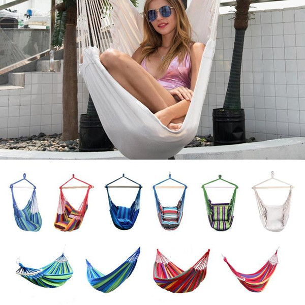 best selling Hot Hammock Chair Outdoor Garden Hammock Hanging Chair for Home Travel Camping Hiking Swing Canvas Stripe