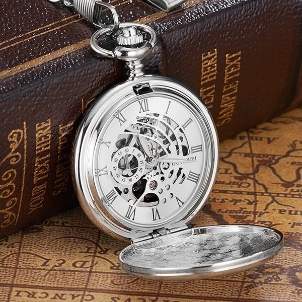 New OYW Brand Stainless Steel Men Fashion Casual Pocket Watch Skeleton dial Silver Hand Wind Mechanical Male Fob Chain Watches C19010301