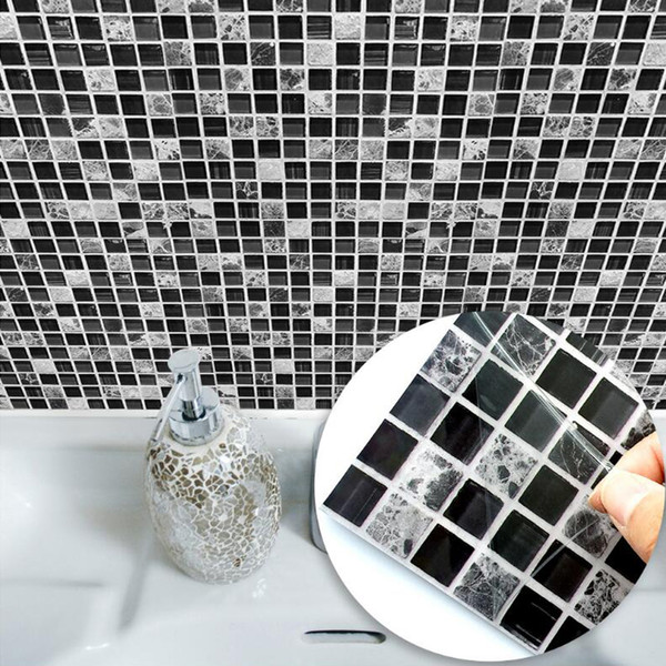 Black & Grey Mosaic Waterproof Wall Sticker Bathroom Toilet Tile Wall DIY Stickers Kitchen Self adhesive Background Sticker Decals