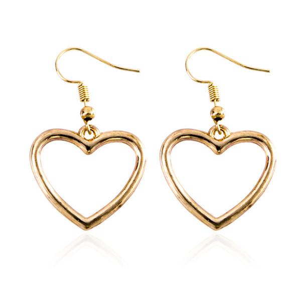 Harajuku japonês macio atraente para a mulher escavar coração geométrica doce amor brincos de ouro brincos do parafuso prisioneiro,