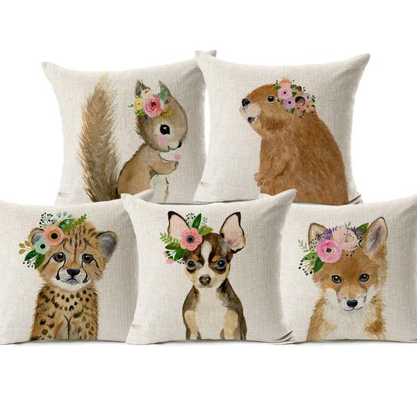 Baby Dog Flamingo Fox Deer Hedgehog Owl Racoon With Garland Cushion Cover Animal Painting Linen Cotton Pillow Case 45X45cm Sofa Chair Decor