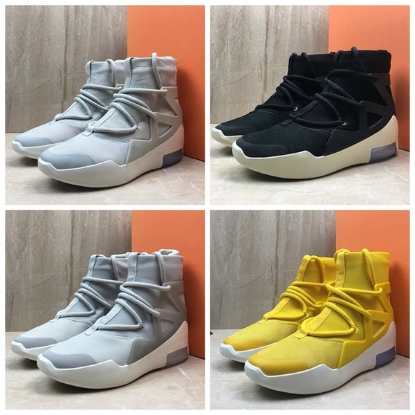2019 Air Fear of God 1 New Designer Boots Light Bone Black Sail Basketball Shoes Sneakers Mens Trainers Authentic Sports Zapatillas With Box