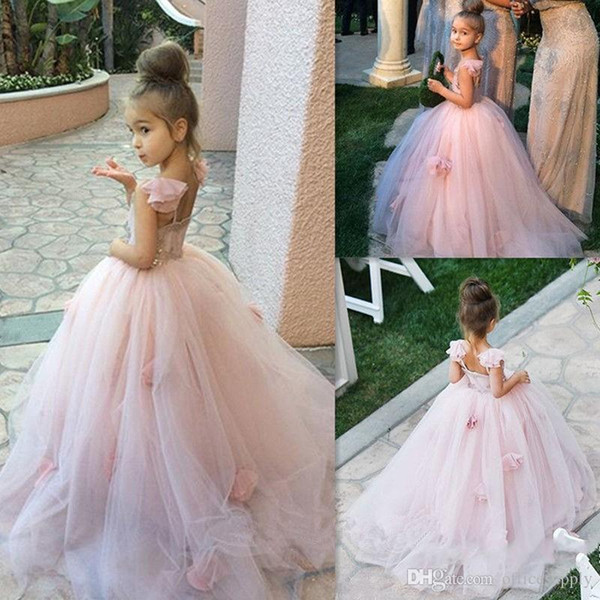 Blush Pink Flower Girl Dresses Spaghetti Straps Junior Bridesmaid Ball Gown Kids Birthday Prom Party Pageant Dresses