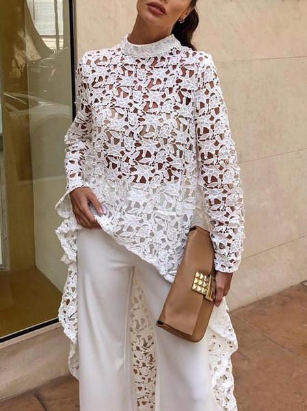 Las mujeres del diseñador del cordón ahuecan hacia fuera el vestido maxi irregular del verano Las mujeres atractivas blancas elegantes vestidos de fiesta 2019 moda primavera vestido de malla de manga larga