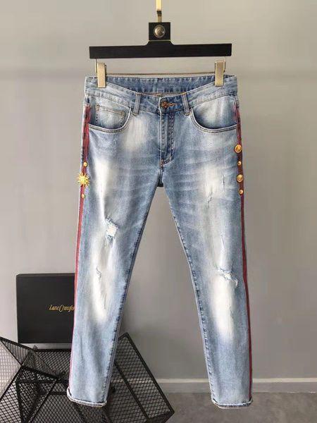 Fashion Men's Jeans 2019 Runway Luxury famous Brand European Design party style Men's Clothing WD02491