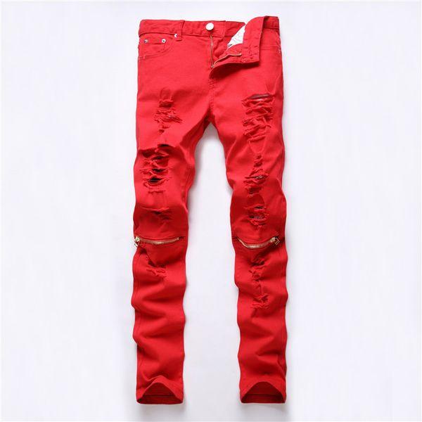 red white black ripped denim pant knee hole zipper biker jeans men slim skinny destroyed torn jean pants jeans