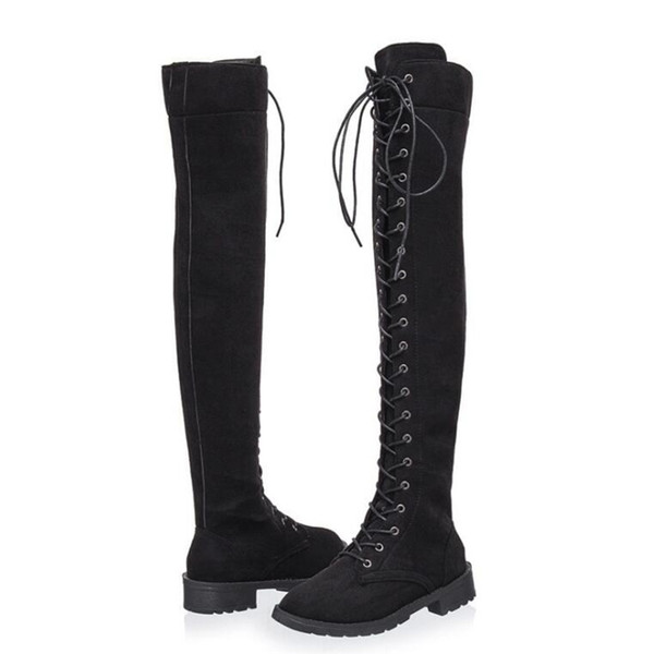 Hot Sale-Sexy Lace Up Over Knee Boots Women rome style Boots Women Flats Shoes Woman suede long Winter Thigh High 35-43