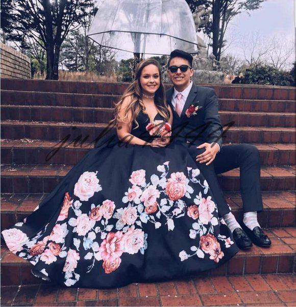 Black Evening Dresses 2019 Sleeveless Printed Floor Length A-Line Stain Prom Dress Custom Made Robe De Soiree