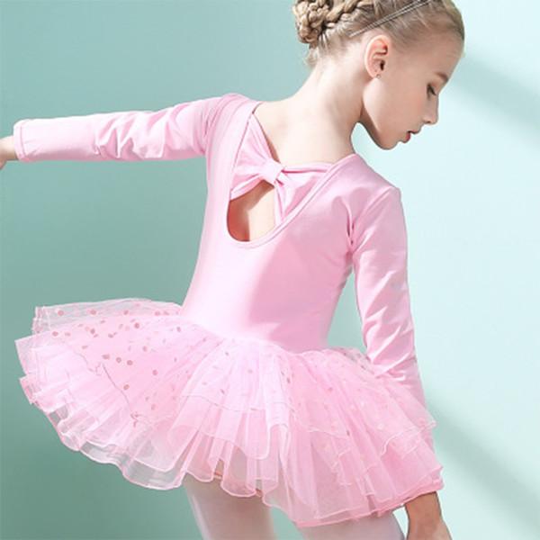 Boa qualidade Ballet Dance Dress Para Meninas Crianças Crianças 4T-9T Rosa Arco Lantejoulas Com Decote Em V Mangas Compridas Macio vestido de Baile vestido de Criança