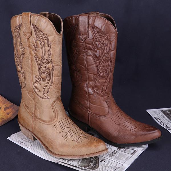 Jerry10 Für Frauen Quadratische Spitze Großhandel Klassische Kniehohe Leder Stiefel Fersen Cowgirl Schuhe Westernstiefel Zehen Frau Von iXOZuwTPk