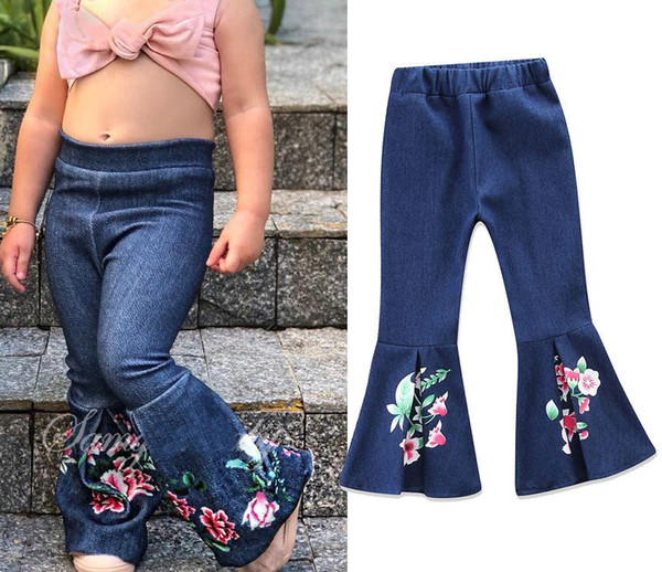 Hot Sale Kids Girl Jeans Floral Printed Flared Trousers Fashion Casual Children Denim Pants