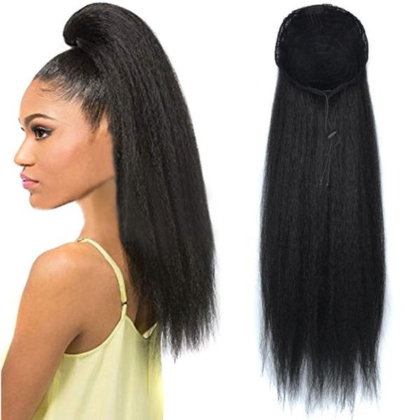 Extraits de cordon synthétiques feuilletés Afro Kinky droites queue de cheval Extensions de cheveux africains queue de cheval 6 couleurs