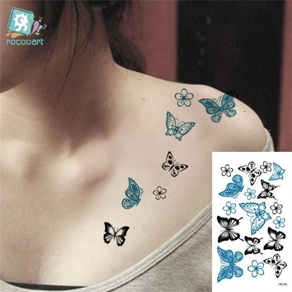 Rocooart Hc1003 Butterfly Design Fake Tatoo Waterproof Women Body Art Painting Tattoo Stickers Sexy Temporary Tattoo Sticker Superman Temporary Tattoo