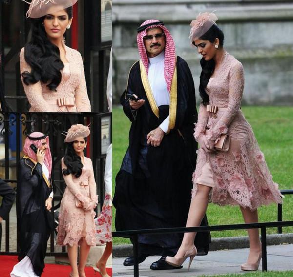 Manga larga Vestidos de noche 2019 V Cuello de encaje Alfombra roja Celebrity Holiday Women Wear Vestidos de fiesta formales de fiesta por encargo más tamaño