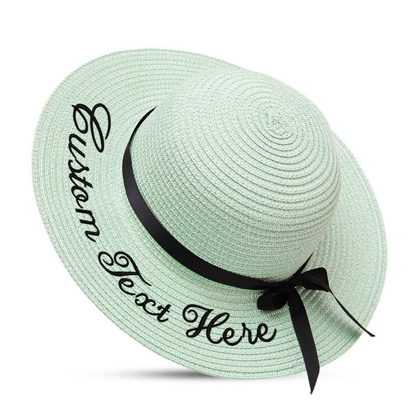 Embroidery Personalized Custom LOGO Your Name baby straw hat Sun Hat Large Brim Straw Hat Cap