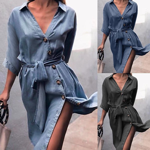 Women Summer Casual Strap-on Jeans Shirt Dress Medium Sleeve V-Neck Dresses Fashion Clothing Casual Apparel