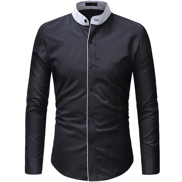 2019 New Hot Sale Fashion Cutting Double Threshold Style Comfortable Casual Stand Collar Mens Shirt Tops Xxxl