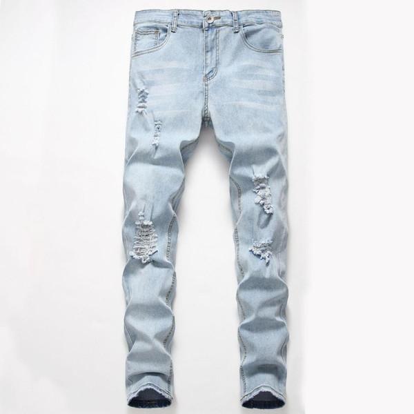 New Coreano Modis Skinny Calças de Brim Dos Homens Casuais Estiramento Buraco Calças Jeans Homens Decking Homme Slim Fit Pantalon De Mezclilla Para Hombre