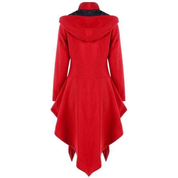 Women Gothic Thin Cloaks Outwear Christmas Red Hooded Asymmetrical Coats Winter Vintage Button Blends Overcoats