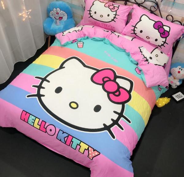 Juego de ropa de cama Hello Kitty Sábanas de algodón para niños Cute Hello Kitty Funda nórdica Sábana Funda de almohada