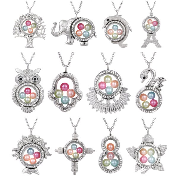 best selling Silver Elephant Cross Owl Living Memory 8mm Pearl Beads Magnetic Glass Floating Locket Pendant Necklace Pearl Cage Locket Charms
