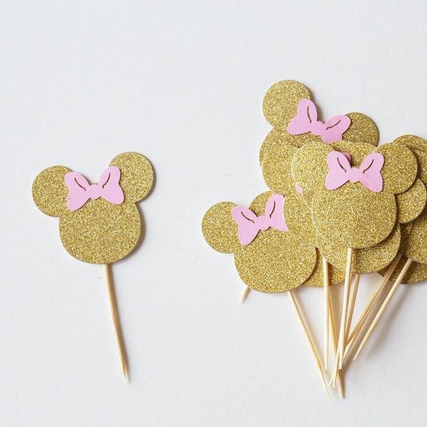 Brillo del oro del ratón primeros de la torta, el oro y la decoración del partido rosa, ratón decoración de la tabla, primero Donut