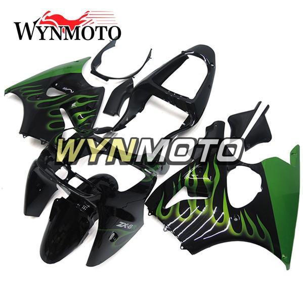 Kawasaki ZX6R ZX-6R Için motosiklet Tam Fairing Kiti Ninja 2000 2001 2002 Enjeksiyon ABS Plastik Kaporta Ile Yeşil Çerçeveler Kaputlar Siyah