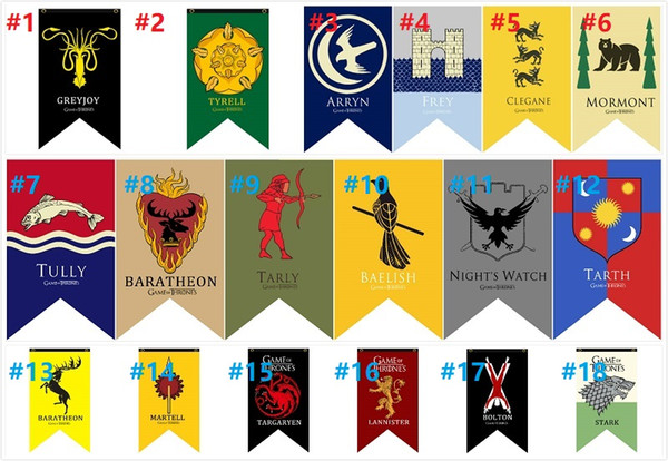 18 Styles 70*125cm Game of Thrones Flags Garden decoration Flag DIY Yard Decorative Hanging Home Banner Flags party props