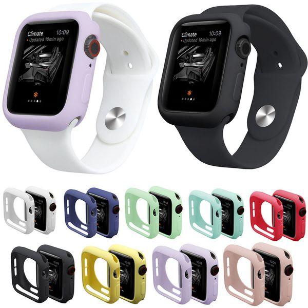 Custodia per orologio 9 colori per iWatch Series 4 Cover Custodia in silicone TPU resistente alla caduta per Apple Watch 3/2/1 Cover Band