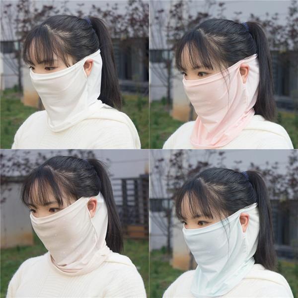 Suncreen Scarf Spring Summer Bib Large Mask Female Outdoor Travel Neck Breathable Hair Band Full Face New Anti-UV Chiffon Thin Veil Bandana