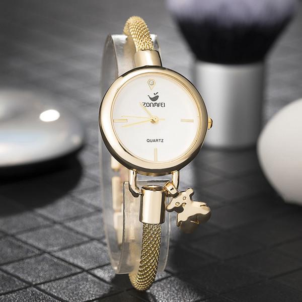 Zonmfei Women's popular bracelet smart watches Fashion Jewelry Pedant chain wristwatches lovely girl dress clock top hot design