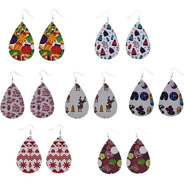 christmas fashion pattern teardrop leather earrings for women long dangle statement water drop earrings jewelry party gift @50