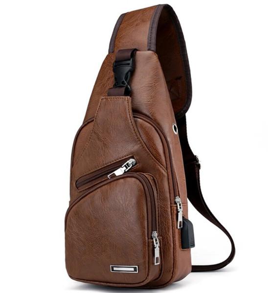 Multifunction Fashion Leather Crossbody Bags Men USB Charging Chest Pack Short Trip Messengers Bag Water Repellent Shoulder Bag
