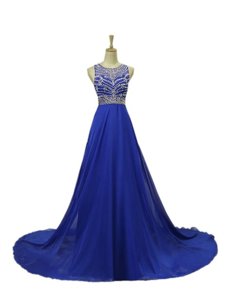 A Line Royal Blue Evening Dresses Jewel Beaded Applique Sweep Train Prom Dresses Formal Party Gowns DH136